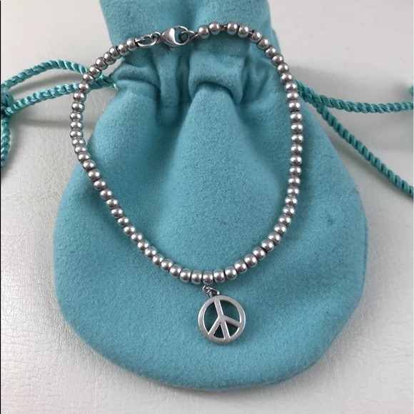 1891c495bd1a4 TIFFANY & CO PEACE SIGN BRACELET SILVER BEADS NEW